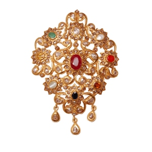 Navratan gold pendant locket earrings gold jewellery durga jewellery dj navratan polkie pendant mozeypictures Image collections