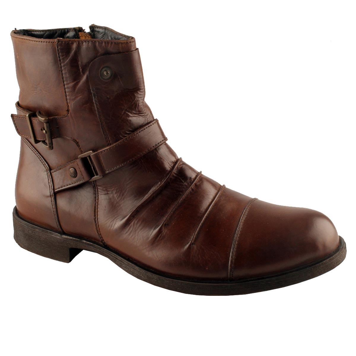 Men Shoes 10-488 OLDMONK BROWN MID ANKLE BOOTS