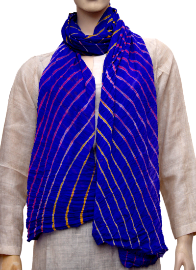 Stoles and Dupattas, Accessories, Women, Indiacraft, Indiacraft, Chinon lehariya stole - Royal blue CLSJE