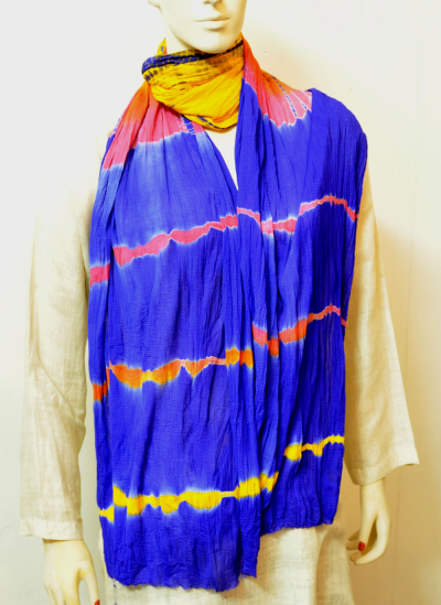 Stoles and Dupattas, Accessories, Women, Indiacraft, Indiacraft, Georgette Lehariya Stole - Royal Blue & Yelow   GLS187RBY