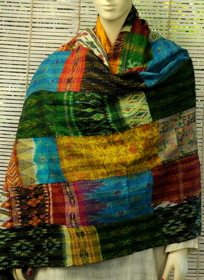 Stoles and Dupattas, Accessories, Women, Indiacraft, Indiacraft, Reversible Patchwork Kantha Dupatta Multicoloured