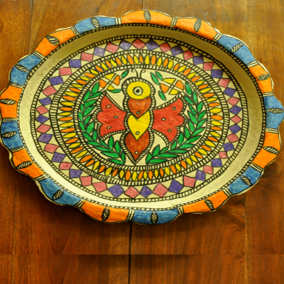 Trays, Kitchen, Home utility, Indiacraft, Indiacraft, Madhubani wall plaque or tray - papier mache butterfly-12