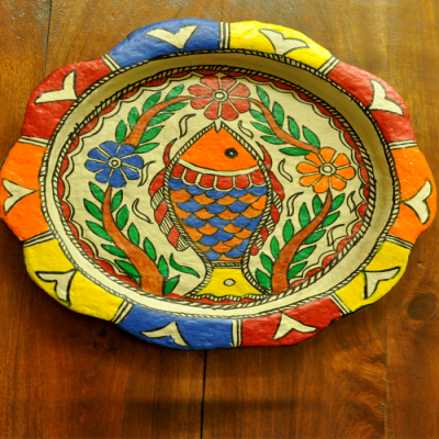 Trays, Kitchen, Home utility, Indiacraft, Indiacraft, Madhubani wall plaque or tray - papier mache orange fish-12