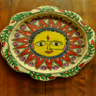 Trays, Kitchen, Home utility, Indiacraft, Indiacraft, Madhubani wall plaque or tray - papier mache sun-12