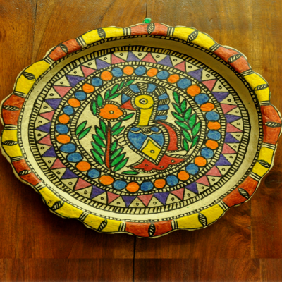 Trays, Kitchen, Home utility, Indiacraft, Indiacraft, Madhubani wall plaque or tray - papier mache orange blue bird-12