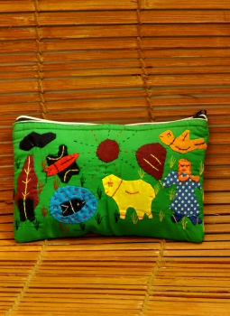 Kutch Embroidered Wall Hanging,Indiacraft,Applique work farm motif - Pencil pouch  (H*-5.5 W*-9)  A...