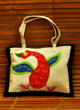 Kutch Embroidered Wall Hanging,Indiacraft,Applique work bird motif - small bag  (H*-6 W*-8)  APWSO86B