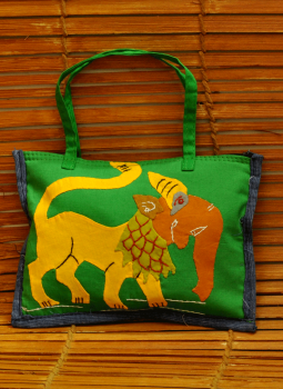 Kutch Embroidered Wall Hanging,Indiacraft,Applique work Elephant motif - small bag (H*-6 W*-8)  APW...