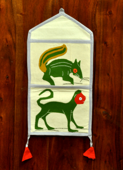 Kutch Embroidered Wall Hanging,Indiacraft,Applique work 2 slot  organiser - Squirrel (H*-16  W*-8) ...