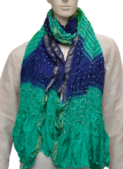 Stoles and Dupattas,Indiacraft,Art Silk Bandhini Dupatta  - navy blue & green ASBDD