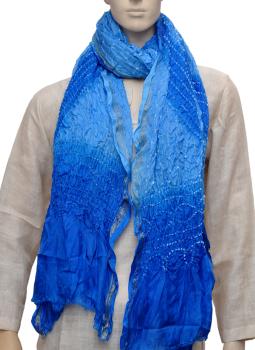 Stoles and Dupattas,Indiacraft,Art Silk Bandhini Dupatta  - Shades of blue ASBDG