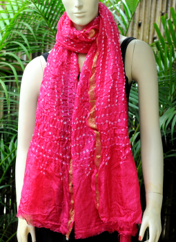 Stoles and Dupattas,Indiacraft,Art Silk Bandhini Dupatta - Magenta Pink
