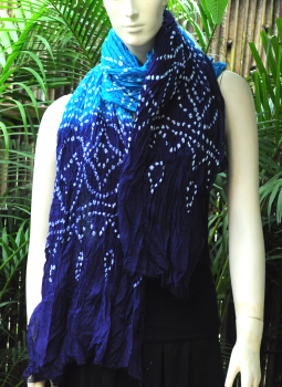 Stoles and Dupattas,Indiacraft,Bandhini Cotton Dupatta - Blue