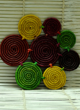 Bhadohi woven baskets,Indiacraft,Bhadohi Basket Craft: Grass woven into Unique and colourf...