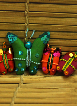 Childrens Toys,Indiacraft,Butterfly Cloth Magnets - Green BCMG (Set of 4)