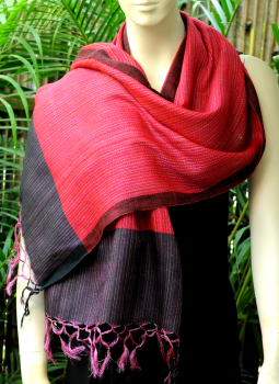Warm Stoles & Mufflers,Indiacraft,Bhagalpur Silk Striped Stole - Deep Pink With Purple Border