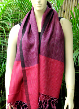 Warm Stoles & Mufflers,Indiacraft,Bhagalpur Silk Striped Stole -Purple With Deep Pink Border