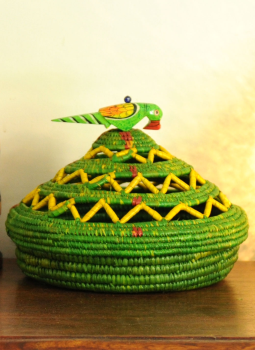Bhadohi woven baskets,Indiacraft,Bhadhohi Fruit basket- Green & Yellow lid   BFBGYA