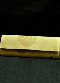 Brocade clutch bag,Indiacraft,Beige & Gold Clutch Bag with front flap -Ornate Kundan De...