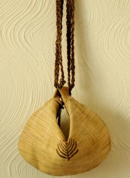 Brocade clutch bag,Indiacraft,Beige & Gold Potli  Bag-Khadi Silk & Cotton with block pr...