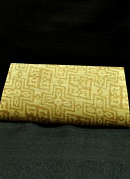 Brocade clutch bag,Indiacraft,Beige & Gold Clutch Bag (small) -Geometric Design