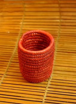 Bhadohi woven baskets,Indiacraft,Bhadhohi Pen Holder- Orange  (Dia 3.5