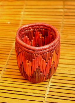 Bhadohi woven baskets,Indiacraft,Bhadhohi Pen Holder- Red & Orange  (Dia 4