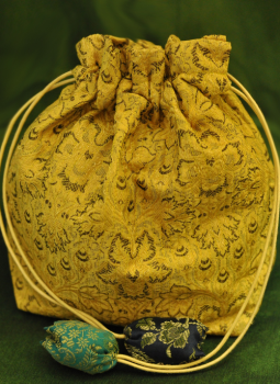 Benarasi potli  bag,Indiacraft,Benarasi cloth Potli bags with strings (H- 8