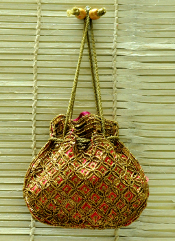Benarasi potli  bag,Indiacraft,Beadwork Potli Bags Exclusive from Bhopal - Dull Gold on ...