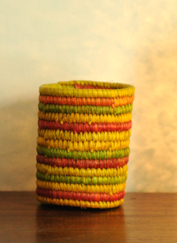 Bhadohi woven baskets,Indiacraft,Bhadhohi Pen Holder- Multicoloured BPHMA