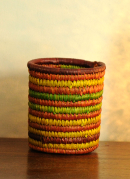 Bhadohi woven baskets,Indiacraft,Bhadhohi Pen Holder-Multicoloured BPHMB