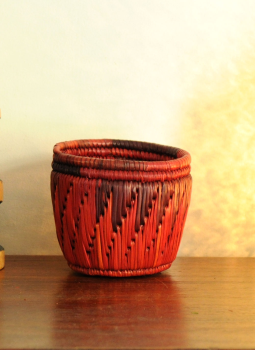 Bhadohi woven baskets,Indiacraft,Bhadhohi Pen Holder- Red & Orange  BPHROA