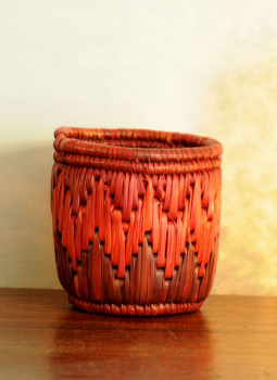 Bhadohi woven baskets,Indiacraft,Bhadhohi Pen Holder- Red & Orange  BPHROB