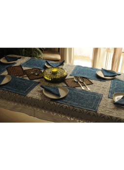 Brocade clutch bag,Indiacraft,Block Printed Table Mats & Napkins ( Set of 6 each)  BPTMNE