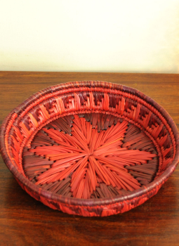 Bhadohi woven baskets,Indiacraft,Bhadhohi round basket- red & orange  BRBROC