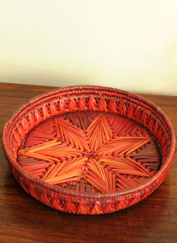 Bhadohi woven baskets,Indiacraft,Bhadhohi round basket- red & orange   BRBROD