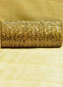 Brocade clutch bag,Indiacraft,Bronze Sequinned Satin Clutch Bag