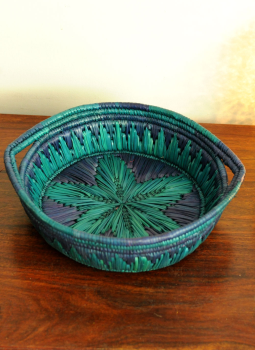 Bhadohi woven baskets,Indiacraft,Bhadhohi round basket- Blue & Green  BRBBBE