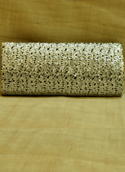 Brocade clutch bag,Indiacraft,Black & Silver Sequinned Satin Clutch Bag