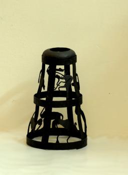 Bastar Tribal Art,Indiacraft,Bastar Tribal Art metal candle holder ,cover    BTAMCHC