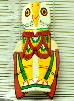 Painted wood,Indiacraft,Burdwan Wooden Curio -Owl with folding wings