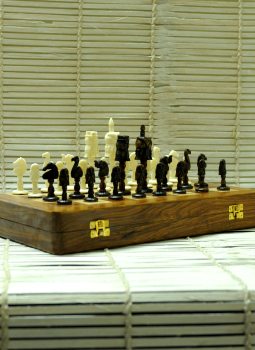 Painted wood,Indiacraft,Camelbone carved Chess set - Owls