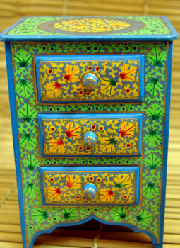 Papier Mache design on wood,Indiacraft,Miniature chest of drawers (H- 12 x W- 8) CD128WG