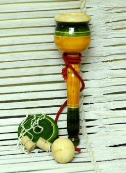 Childrens Toys,Indiacraft,Channapatna wooden toys- Ball & Rope  and rotating disc s...