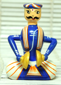 Childrens Toys,Indiacraft,Channapatna wooden toys- Musician Blue