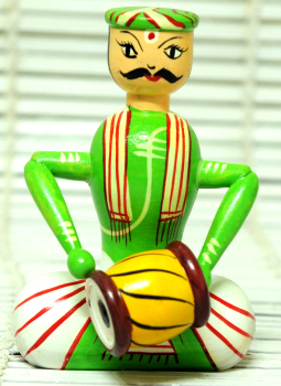 Childrens Toys,Indiacraft,Channapatna wooden toys- Musician Green