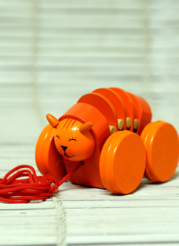 Childrens Toys,Indiacraft,Channapatna wooden toys- Pull along caterpillar
