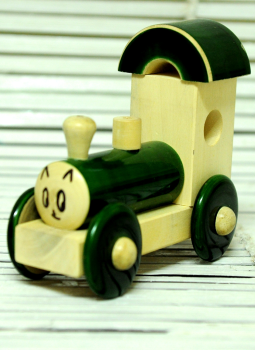 Childrens Toys,Indiacraft,Channapatna wooden toys- Small engine Green