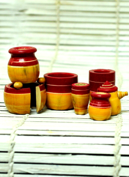 Childrens Toys,Indiacraft,Channapatna wooden toys- small kitchen jar set