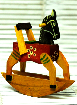 Childrens Toys,Indiacraft,Channapatna wooden toys- small rocking horse